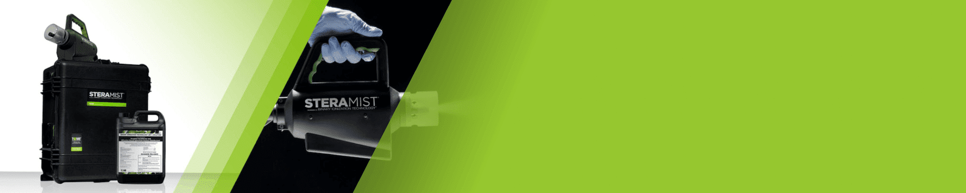 green background with cleaning device labeled with SteraMist